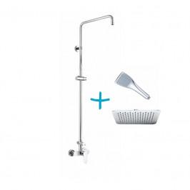 Mereo Sprchový set: baterie se sprch. soupravou, hadicí, ruční a talířovou hranatou sprchou