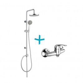 Mereo Sprchová souprava Lila - plastová hlavová sprcha a třípolohová ruční sprcha vč. sprchové  baterie 100mm