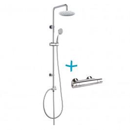 MEREO-Sprchový set: termostatická baterie + sprch. soupr. talířová sprcha kulatá 200mm a ruční sprcha