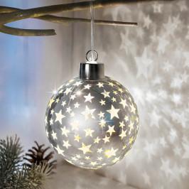 LED skleněná koule Hvězdičky, stříbrná