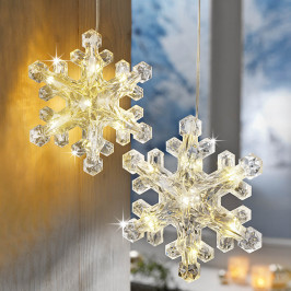 LED Závěsná dekorace Vločka, 2 ks