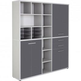 KOMBINACE REGÁLŮ, šedá, 191,9/216,4/40 cm - šedá