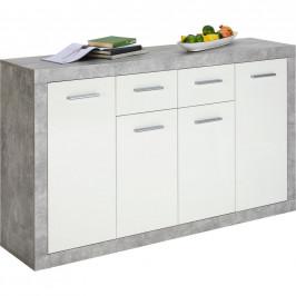 Carryhome KOMODA, šedá, bílá, 152/88/37 cm