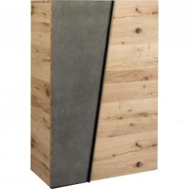 Voglauer BOTNÍK, šedá, barvy dubu, divoký dub, 96,2/138/42,3 cm
