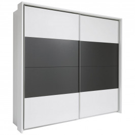 Xora SKŘÍŇ S POSUVNÝMI DVEŘMI, bílá, tmavě šedá, 240/226/60 cm