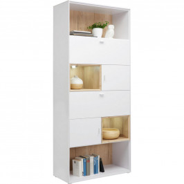 Hom`in REGÁL, bílá, barvy dubu, 90/213/40 cm - bílá, barvy dubu