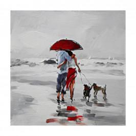 Monee OLEJOMALBA, lidé, 30/30 cm - šedá, červená, bílá