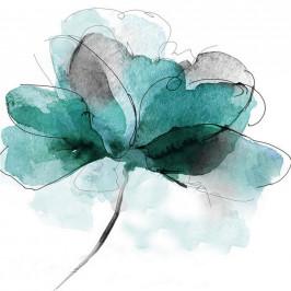 Monee OLEJOMALBA, květiny, 85/85 cm - modrá, černá, bílá