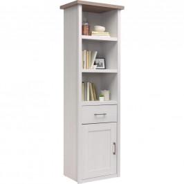 Carryhome REGÁL, bílá, barvy lanýžového dubu, 60/201/43 cm - bílá, barvy lanýžového dubu