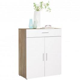 Xora KOMODA, bílá, barvy dubu, 80/98/40 cm