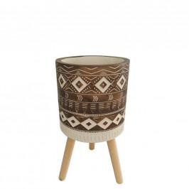 Ambia Home KVĚTINÁČ, dřevo, kámen, 17/25 cm