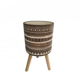 Ambia Home KVĚTINÁČ, dřevo, kámen - přírodní barvy, bílá