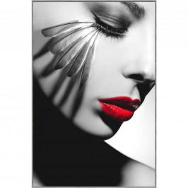 Monee OBRAZ NA SKLE, ženy, 80/120 cm - šedá, červená, černá