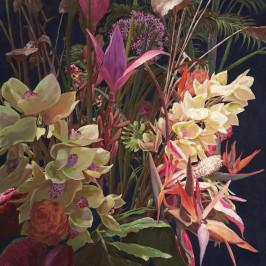 Monee OLEJOMALBA, květiny, 100/100 cm - hnědá, žlutá, zelená, fialová, černá, béžová