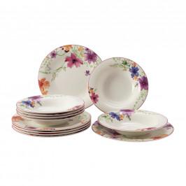 Villeroy & Boch JÍDELNÍ SOUPRAVA, 12dílné, porcelán - žlutá, fialová, bílá, pink, světle zelená