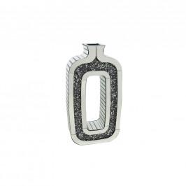 Ambia Home VÁZA, umělá hmota, sklo, kompozitní dřevo, 60.3 cm - barvy stříbra