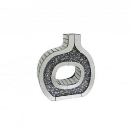 Ambia Home VÁZA, umělá hmota, sklo, kompozitní dřevo, 40.3 cm - barvy stříbra