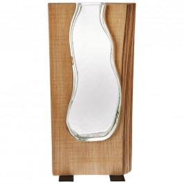 Leonardo VÁZA, dřevo, sklo, 36 cm - hnědá, čiré