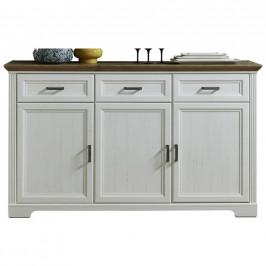 Hom`in SIDEBOARD, bílá, barvy dubu, 166/102/48 cm - bílá, barvy dubu