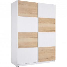 Hom`in SKŘÍŇ S POS. DVEŘMI.(HOR.VED.), bílá, barvy dubu, 150/213/62 cm - bílá, barvy dubu