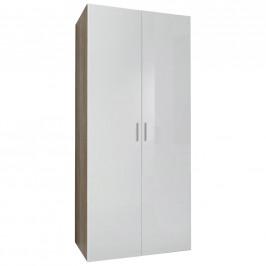Xora ŠATNÍ SKŘÍŇ, bílá, barvy dubu, 80/185/40 cm