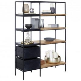 Ambia Home REGÁLOVÝ DÍL, černá, barvy akácie, železo, akácie, mangové dřevo, 105/152/35 cm - černá, barvy akácie
