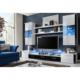 ASM Obývací stěna FRESH, bílá matná/černý a bílý lesk