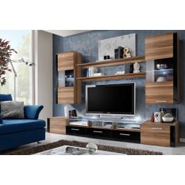 ASM Obývací stěna FRESH, švestka/švestka a černý lesk