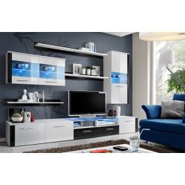 ASM Obývací stěna LOGO FRESH, bílá matná/bílý a černý lesk
