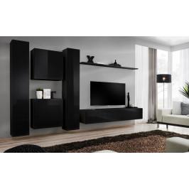 ASM Obývací stěna SWITCH VI, černá matná/černý lesk