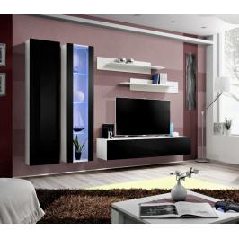 ASM Obývací stěna FLY A4, bílá matná/černý lesk