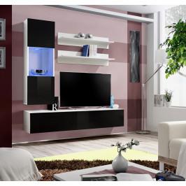 ASM Obývací stěna FLY H3, bílá matná/černý lesk
