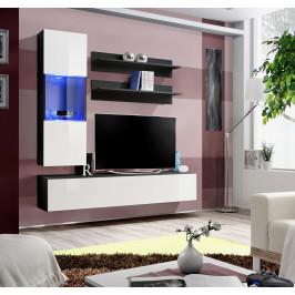ASM Obývací stěna FLY H3, černá matná/bílý lesk