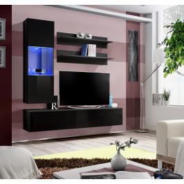 ASM Obývací stěna FLY H3, černá matná/černý lesk