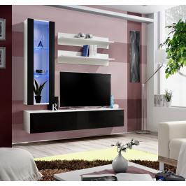 ASM Obývací stěna FLY H2, bílá matná/černý lesk