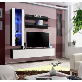 ASM Obývací stěna FLY H2, černá matná/bílý lesk