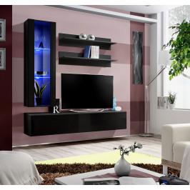 ASM Obývací stěna FLY H2, černá matná/černý lesk