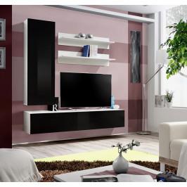 ASM Obývací stěna FLY H1, bílá matná/černý lesk