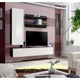 ASM Obývací stěna FLY H1, černá matná/bílý lesk