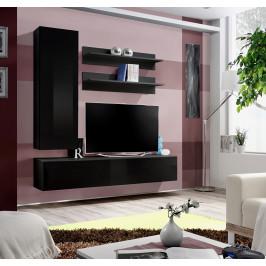 ASM Obývací stěna FLY H1, černá matná/černý lesk