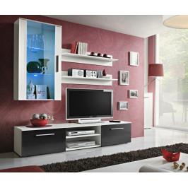 ASM Obývací stěna GALINO E, bílá matná/bílá matná a černý lesk