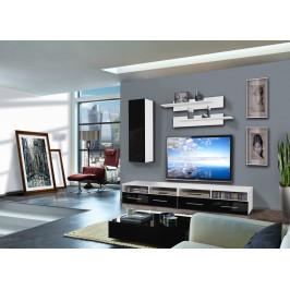 ASM Obývací stěna CLEVO A1, bílá matná/černý lesk