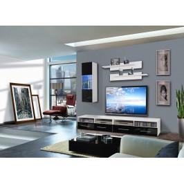 ASM Obývací stěna CLEVO C1, bílá matná/černý lesk