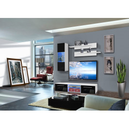 ASM Obývací stěna DRADA C1, bílá matná/černý lesk