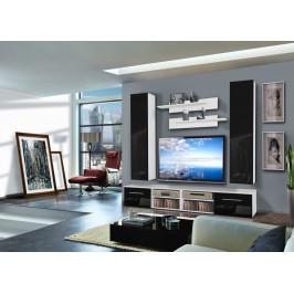 ASM Obývací stěna INVENTO D2, bílá matná/černý lesk