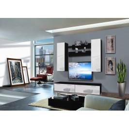 ASM Obývací stěna LEDGE A2, černá matná/bílý lesk