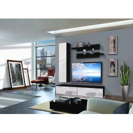 ASM Obývací stěna LEDGE D1, černá matná/bílý lesk