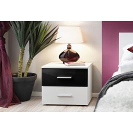 ASM Noční stolek Vicky, bílá matná/černý lesk a bílá matná