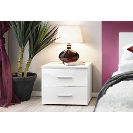 ASM Noční stolek Vicky, bílá matná/bílý lesk