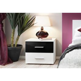 ASM Noční stolek Vicky, bílá matná/černý a bílý lesk